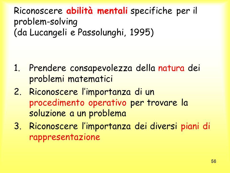 56 Riconoscere abilità mentali specifiche per il problem-solving (da Lucangeli e Passolunghi, 1995) 1.Prendere consapevolezza della natura dei problem