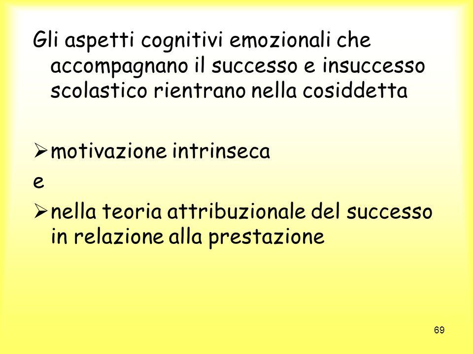 69 Gli aspetti cognitivi emozionali che accompagnano il successo e insuccesso scolastico rientrano nella cosiddetta motivazione intrinseca e nella teo