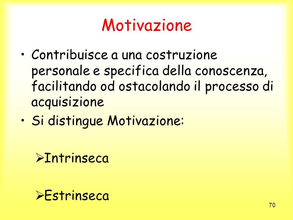 70 Motivazione Contribuisce a una costruzione personale e specifica della conoscenza, facilitando od ostacolando il processo di acquisizione Si distin