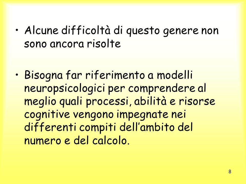 8 Alcune difficoltà di questo genere non sono ancora risolte Bisogna far riferimento a modelli neuropsicologici per comprendere al meglio quali proces