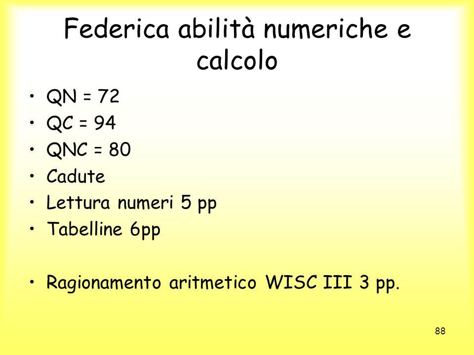 88 Federica abilità numeriche e calcolo QN = 72 QC = 94 QNC = 80 Cadute Lettura numeri 5 pp Tabelline 6pp Ragionamento aritmetico WISC III 3 pp.