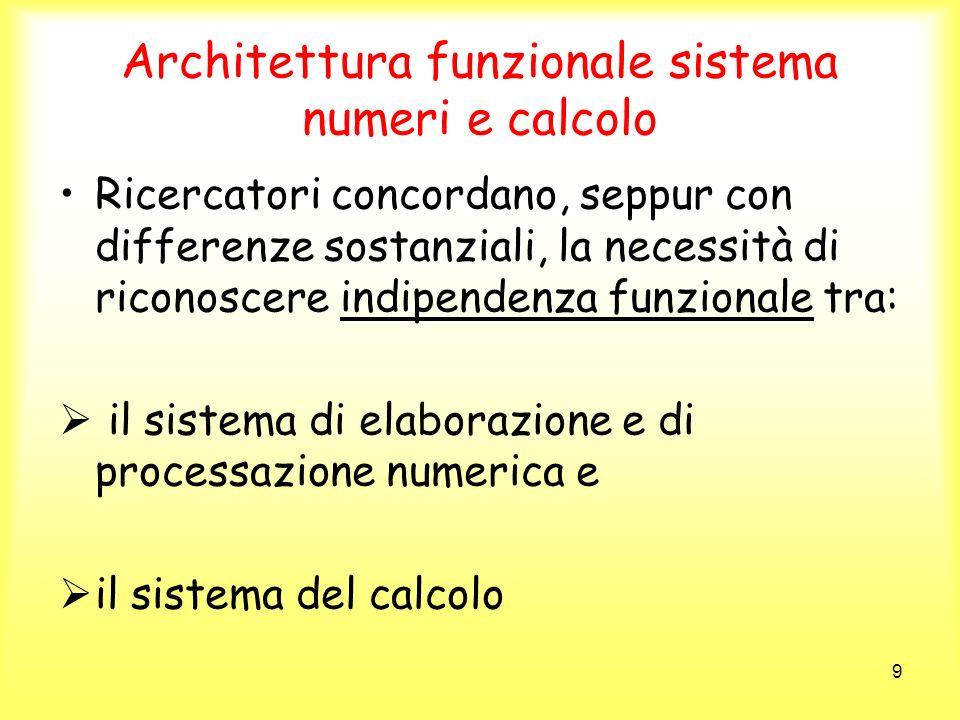 9 Architettura funzionale sistema numeri e calcolo Ricercatori concordano, seppur con differenze sostanziali, la necessità di riconoscere indipendenza