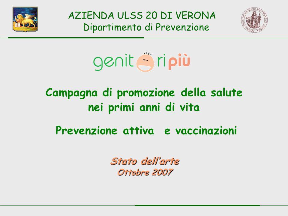 Campagna di promozione della salute nei primi anni di vita Prevenzione attiva e vaccinazioni Stato dellarte Ottobre 2007 AZIENDA ULSS 20 DI VERONA Dipartimento di Prevenzione