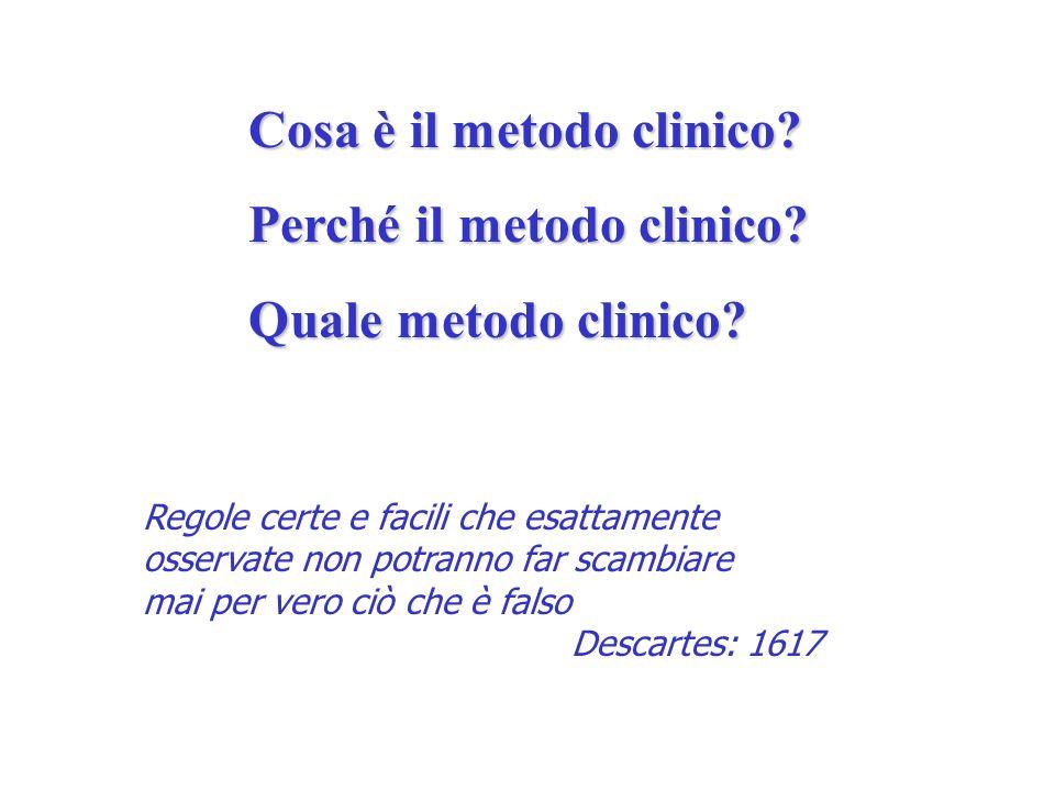 Cosa è il metodo clinico? Perché il metodo clinico? Quale metodo clinico? Regole certe e facili che esattamente osservate non potranno far scambiare m