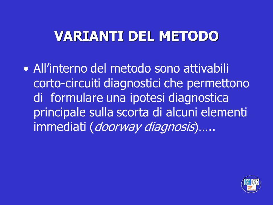 VARIANTI DEL METODO Allinterno del metodo sono attivabili corto-circuiti diagnostici che permettono di formulare una ipotesi diagnostica principale su