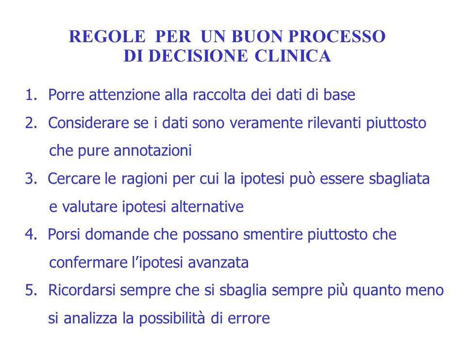 REGOLE PER UN BUON PROCESSO DI DECISIONE CLINICA 1.Porre attenzione alla raccolta dei dati di base 2.Considerare se i dati sono veramente rilevanti pi