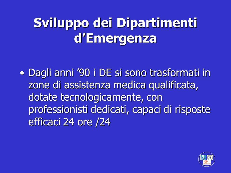 Sviluppo dei Dipartimenti dEmergenza Dagli anni 90 i DE si sono trasformati in zone di assistenza medica qualificata, dotate tecnologicamente, con pro