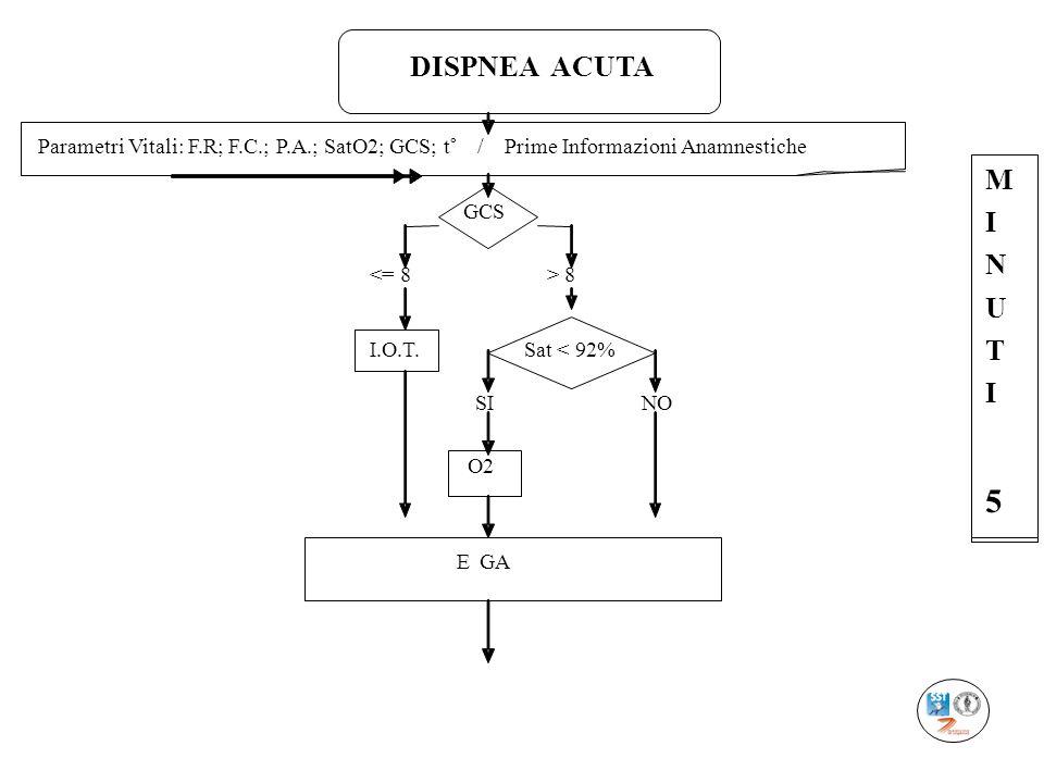 DISPNEA ACUTA Parametri Vitali: F.R; F.C.; P.A.; SatO2; GCS; t° / Prime Informazioni Anamnestiche GCS 8 I.O.T. Sat < 92% SI NO O2 EGA M I N U T I 5