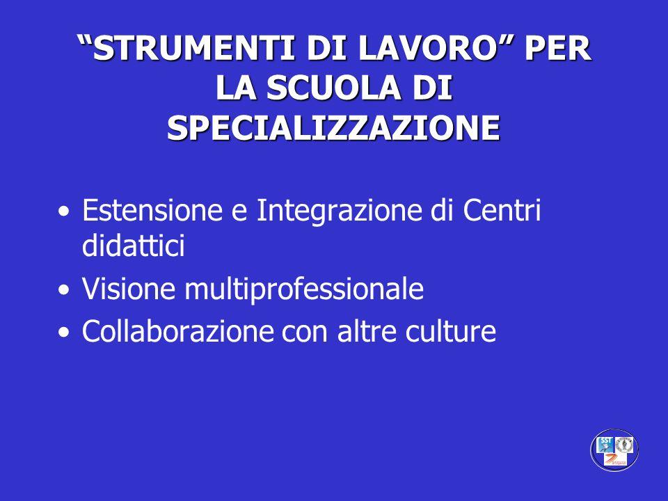 STRUMENTI DI LAVORO PER LA SCUOLA DI SPECIALIZZAZIONE Estensione e Integrazione di Centri didattici Visione multiprofessionale Collaborazione con altr