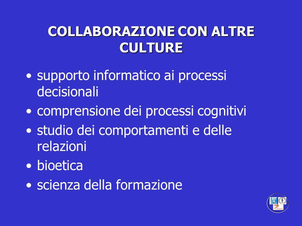 COLLABORAZIONE CON ALTRE CULTURE supporto informatico ai processi decisionali comprensione dei processi cognitivi studio dei comportamenti e delle rel