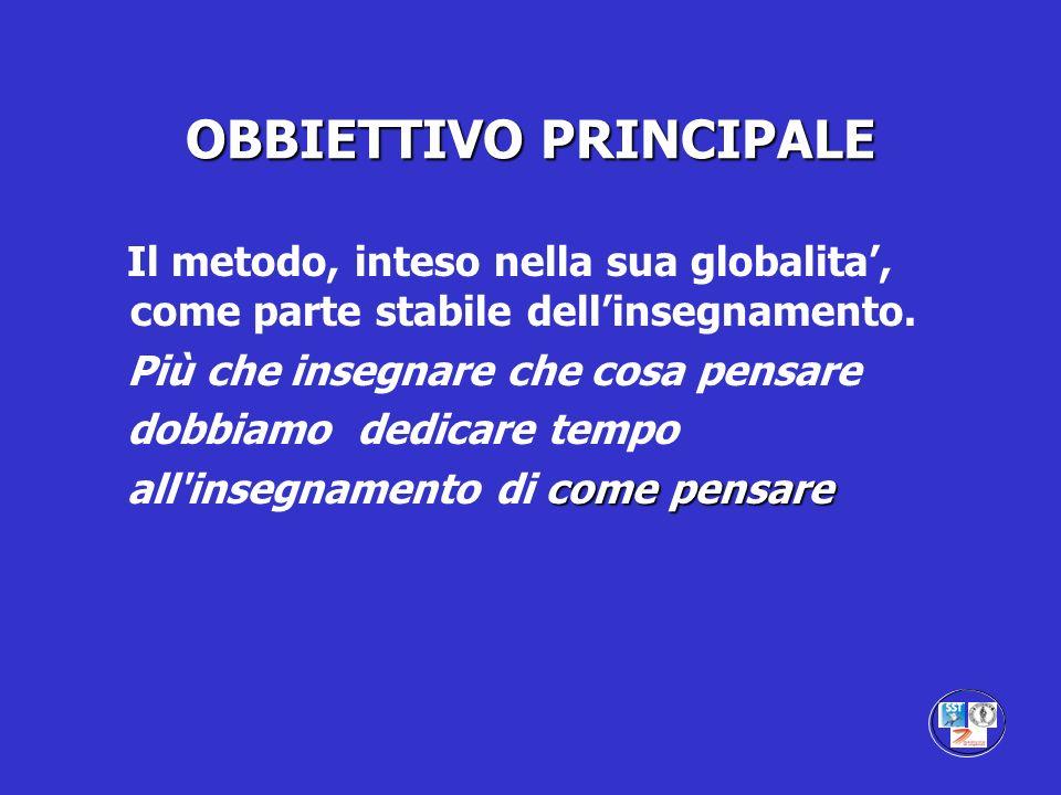 OBBIETTIVO PRINCIPALE Il metodo, inteso nella sua globalita, come parte stabile dellinsegnamento. Più che insegnare che cosa pensare dobbiamo dedicare