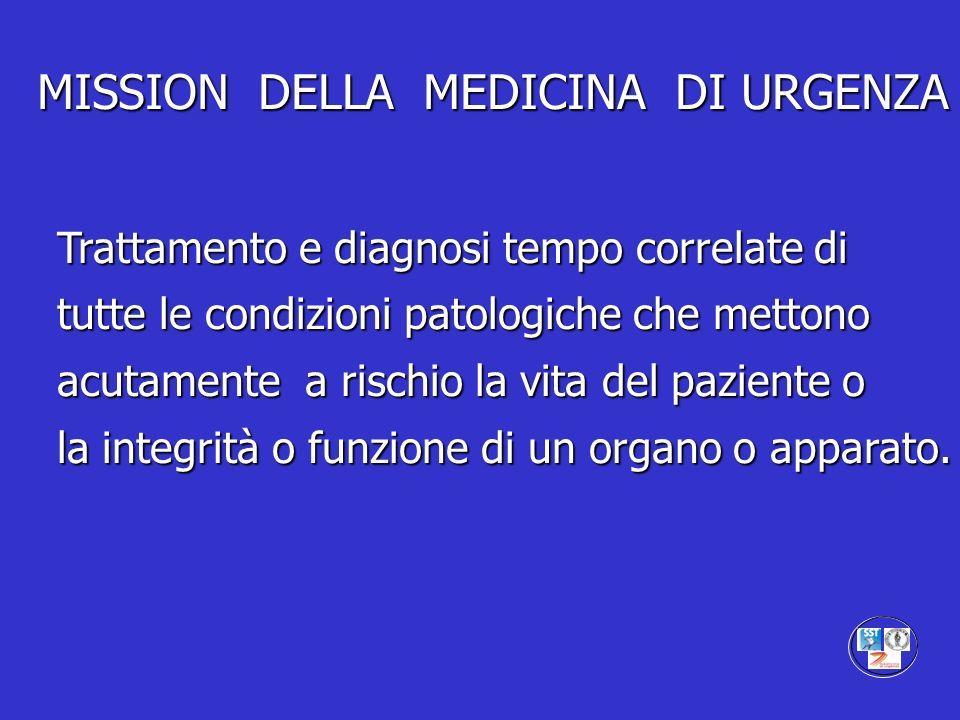 MISSION DELLA MEDICINA DI URGENZA Trattamento e diagnosi tempo correlate di tutte le condizioni patologiche che mettono acutamente a rischio la vita d