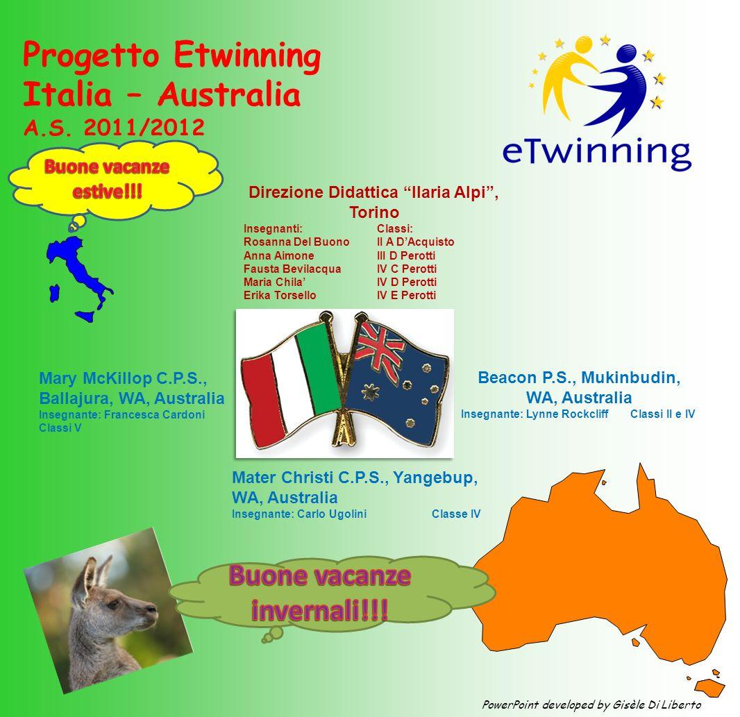Progetto Etwinning Italia – Australia A.S. 2011/2012 Beacon P.S., Mukinbudin, WA, Australia Insegnante: Lynne Rockcliff Classi II e IV Direzione Didat