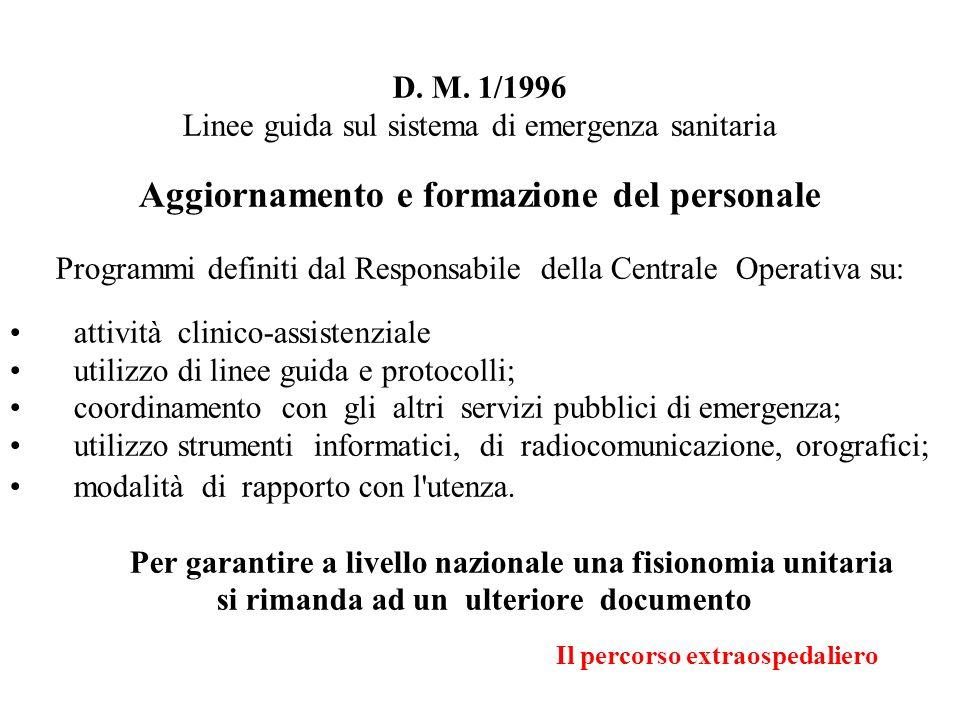 Il percorso extraospedaliero D. M. 1/1996 Linee guida sul sistema di emergenza sanitaria Aggiornamento e formazione del personale Programmi definiti d