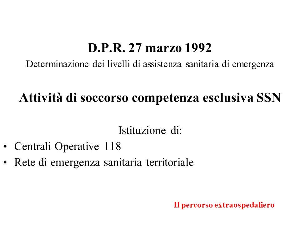 Il percorso extraospedaliero D.P.R. 27 marzo 1992 Determinazione dei livelli di assistenza sanitaria di emergenza Attività di soccorso competenza escl