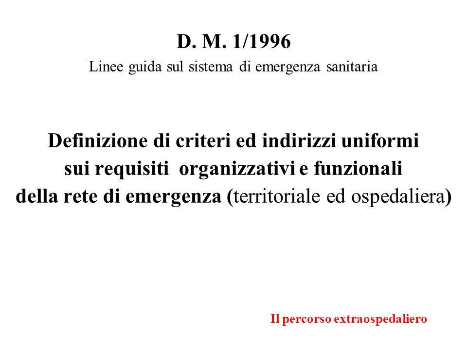 Il percorso extraospedaliero D. M. 1/1996 Linee guida sul sistema di emergenza sanitaria Definizione di criteri ed indirizzi uniformi sui requisiti or
