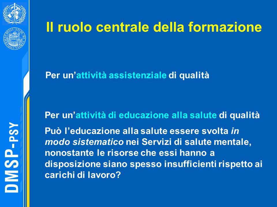 Il ruolo centrale della formazione Per unattività assistenziale di qualità Per unattività di educazione alla salute di qualità Può leducazione alla sa