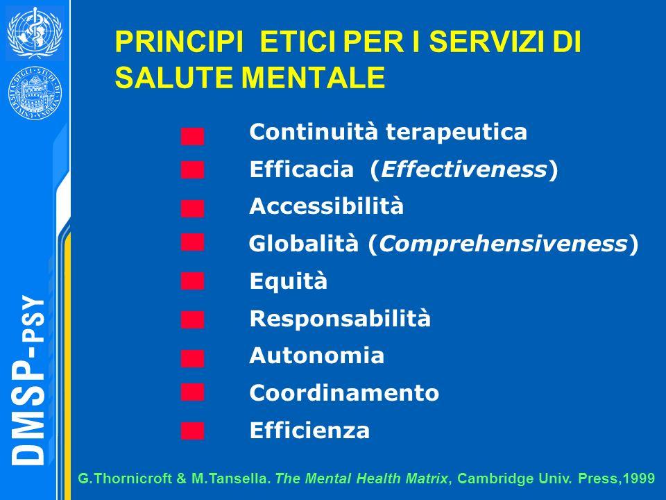 PRINCIPI ETICI PER I SERVIZI DI SALUTE MENTALE Continuità terapeutica Efficacia (Effectiveness) Accessibilità Globalità (Comprehensiveness) Equità Res