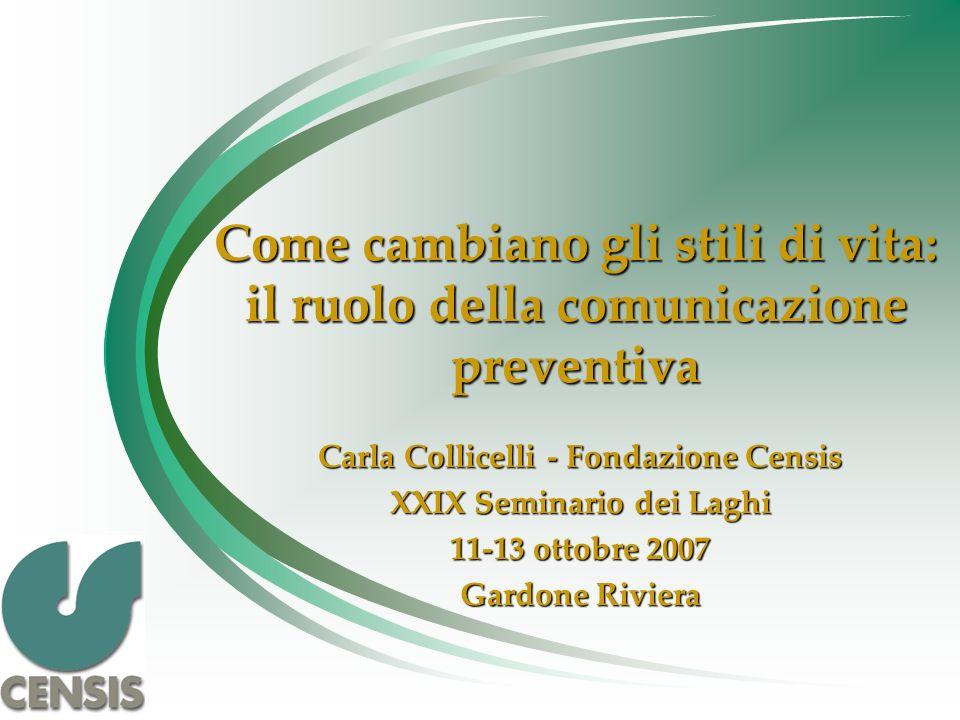 Come cambiano gli stili di vita: il ruolo della comunicazione preventiva Carla Collicelli - Fondazione Censis XXIX Seminario dei Laghi 11-13 ottobre 2007 Gardone Riviera