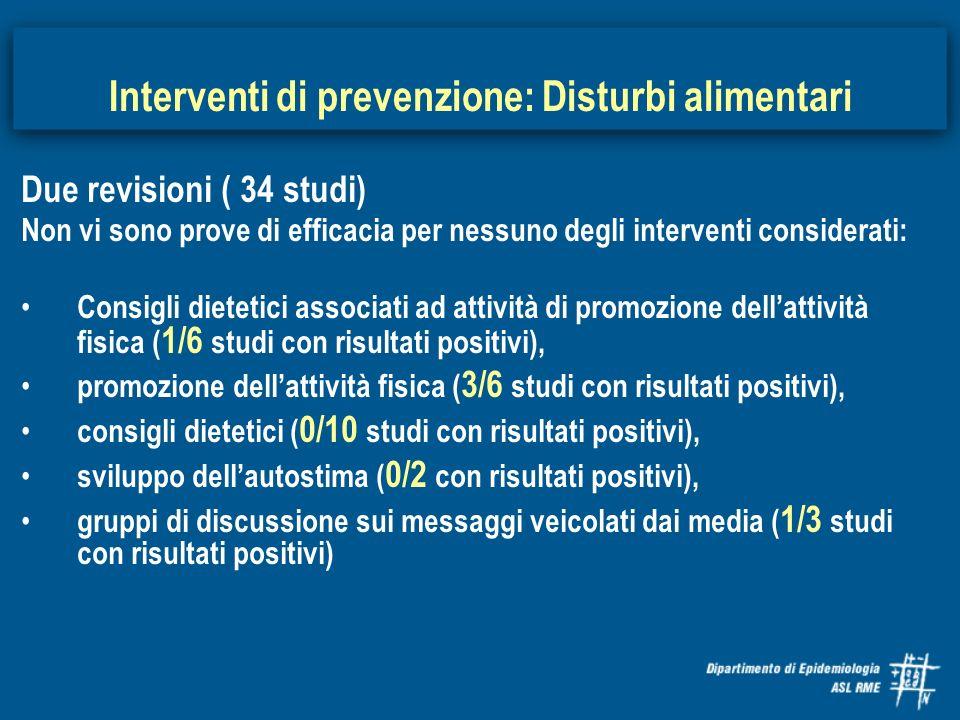Due revisioni ( 34 studi) Non vi sono prove di efficacia per nessuno degli interventi considerati: Consigli dietetici associati ad attività di promozi