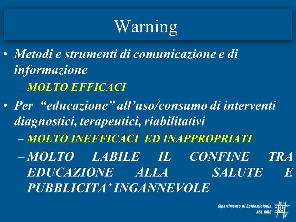 Warning Metodi e strumenti di comunicazione e di informazione –MOLTO EFFICACI Per educazione alluso/consumo di interventi diagnostici, terapeutici, ri