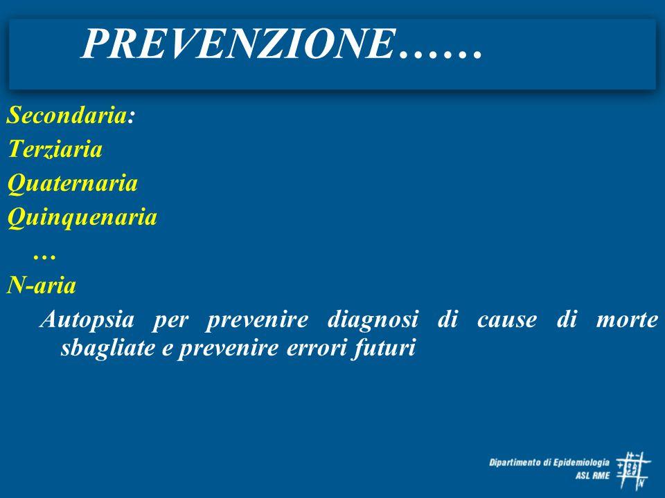 PREVENZIONE…… Secondaria: Terziaria Quaternaria Quinquenaria … N-aria Autopsia per prevenire diagnosi di cause di morte sbagliate e prevenire errori f