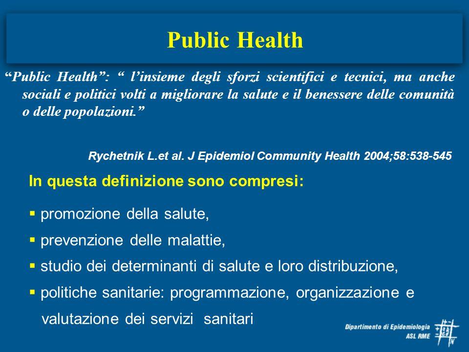 Public Health Public Health: linsieme degli sforzi scientifici e tecnici, ma anche sociali e politici volti a migliorare la salute e il benessere dell