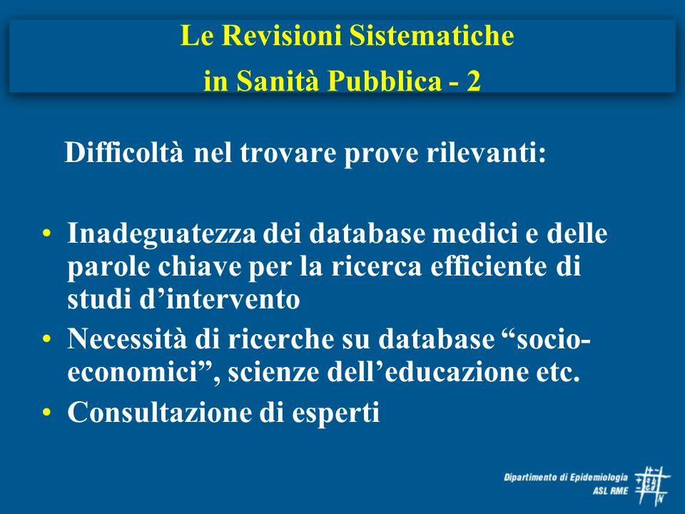 Le Revisioni Sistematiche in Sanità Pubblica - 2 Difficoltà nel trovare prove rilevanti: Inadeguatezza dei database medici e delle parole chiave per l