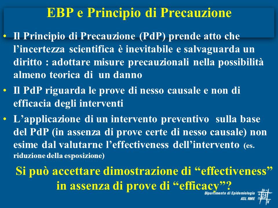 EBP e Principio di Precauzione Il Principio di Precauzione (PdP) prende atto che lincertezza scientifica è inevitabile e salvaguarda un diritto : adot