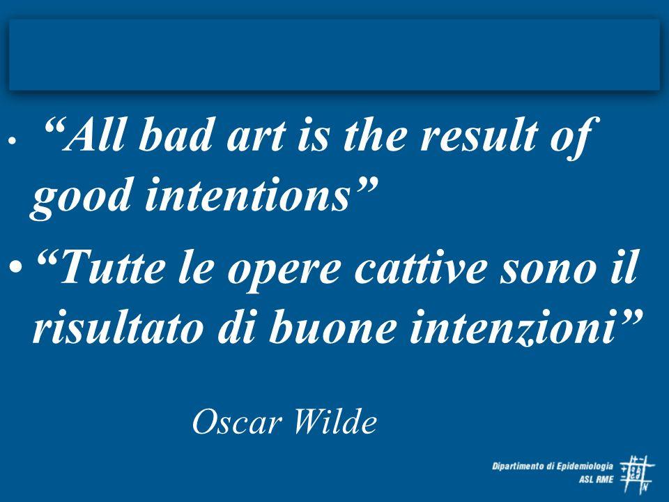 All bad art is the result of good intentions Tutte le opere cattive sono il risultato di buone intenzioni Oscar Wilde