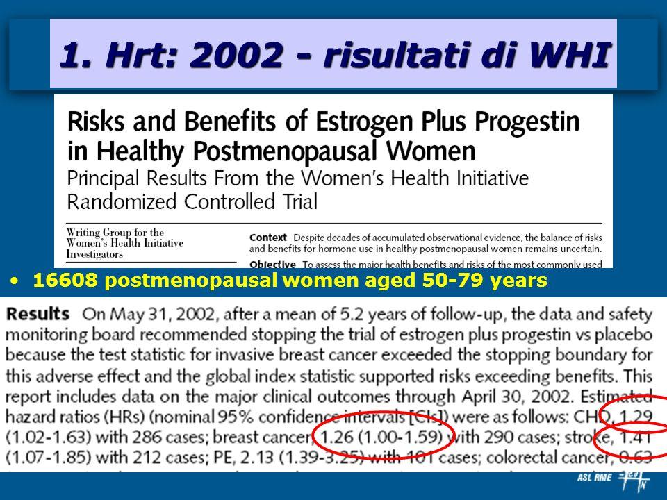 16608 postmenopausal women aged 50-79 years 1. Hrt: 2002 - risultati di WHI