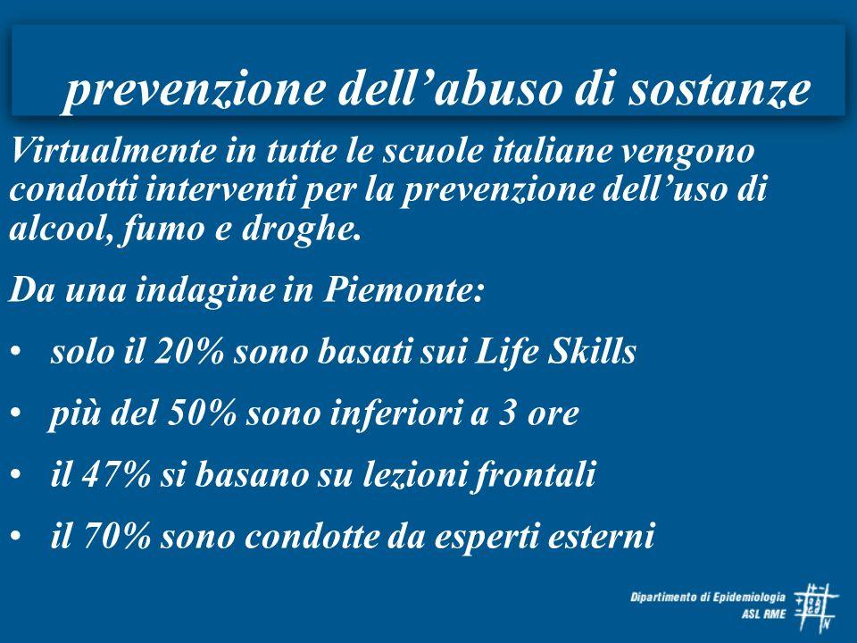 prevenzione dellabuso di sostanze Virtualmente in tutte le scuole italiane vengono condotti interventi per la prevenzione delluso di alcool, fumo e dr