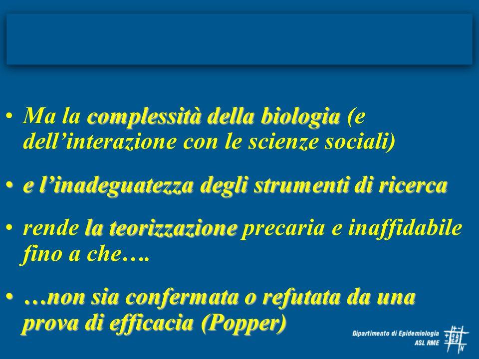 complessità della biologiaMa la complessità della biologia (e dellinterazione con le scienze sociali) e linadeguatezza degli strumenti di ricercae lin