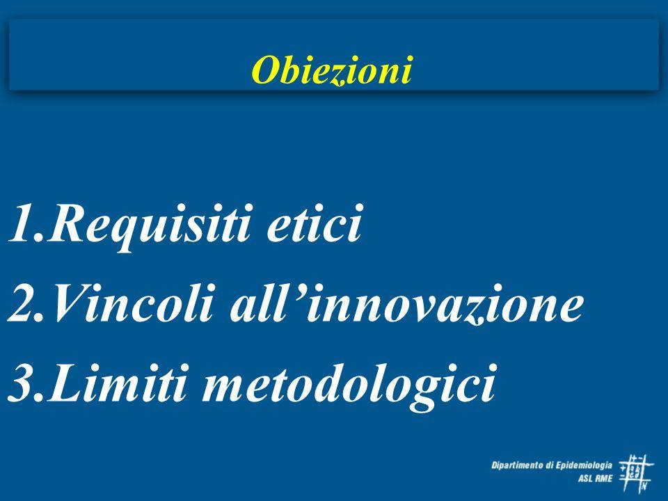 Obiezioni 1.Requisiti etici 2.Vincoli allinnovazione 3.Limiti metodologici
