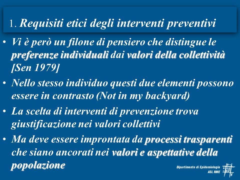 1. Requisiti etici degli interventi preventivi preferenze individualivalori della collettivitàVi è però un filone di pensiero che distingue le prefere