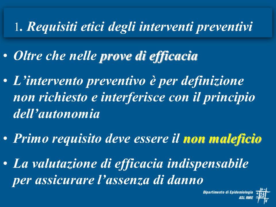 1. Requisiti etici degli interventi preventivi prove di efficaciaOltre che nelle prove di efficacia Lintervento preventivo è per definizione non richi