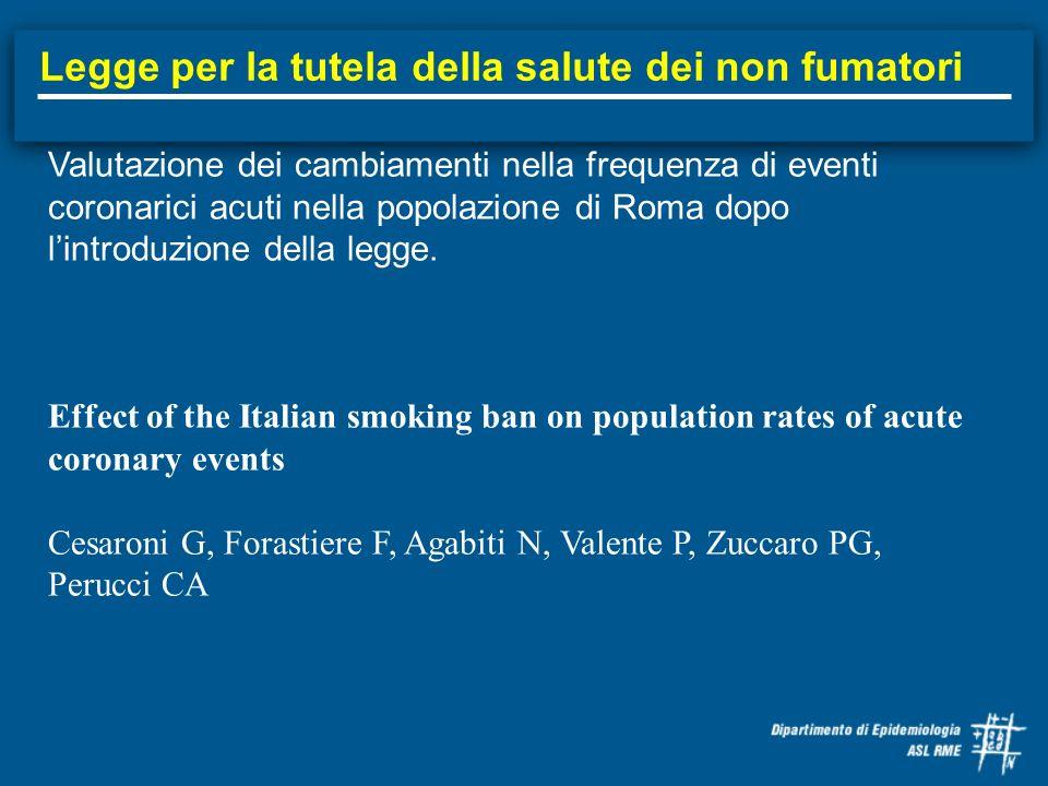 Legge per la tutela della salute dei non fumatori Valutazione dei cambiamenti nella frequenza di eventi coronarici acuti nella popolazione di Roma dop