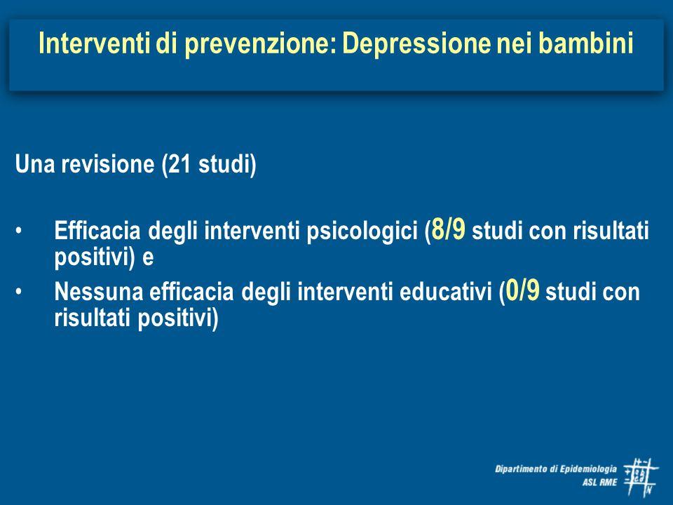 Una revisione (21 studi) Efficacia degli interventi psicologici ( 8/9 studi con risultati positivi) e Nessuna efficacia degli interventi educativi ( 0