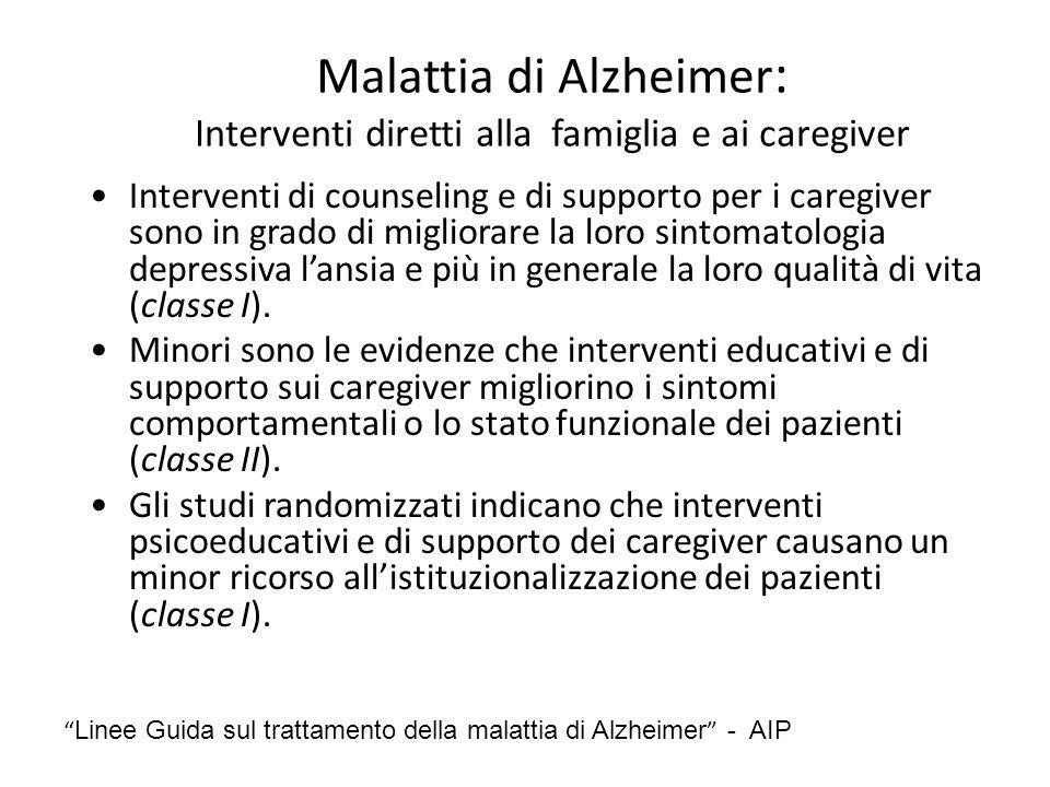 Malattia di Alzheimer : Interventi diretti alla famiglia e ai caregiver Interventi di counseling e di supporto per i caregiver sono in grado di miglio