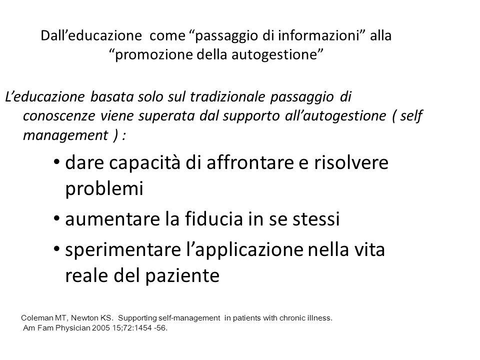 Dalleducazione come passaggio di informazioni alla promozione della autogestione Leducazione basata solo sul tradizionale passaggio di conoscenze vien