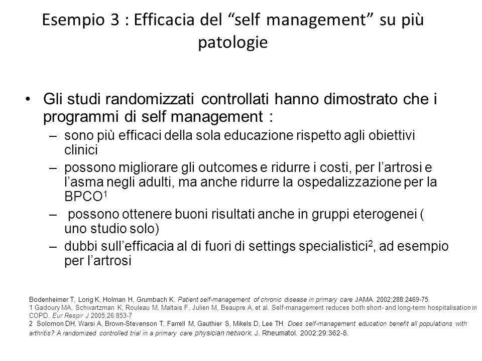 Esempio 3 : Efficacia del self management su più patologie Gli studi randomizzati controllati hanno dimostrato che i programmi di self management : –s