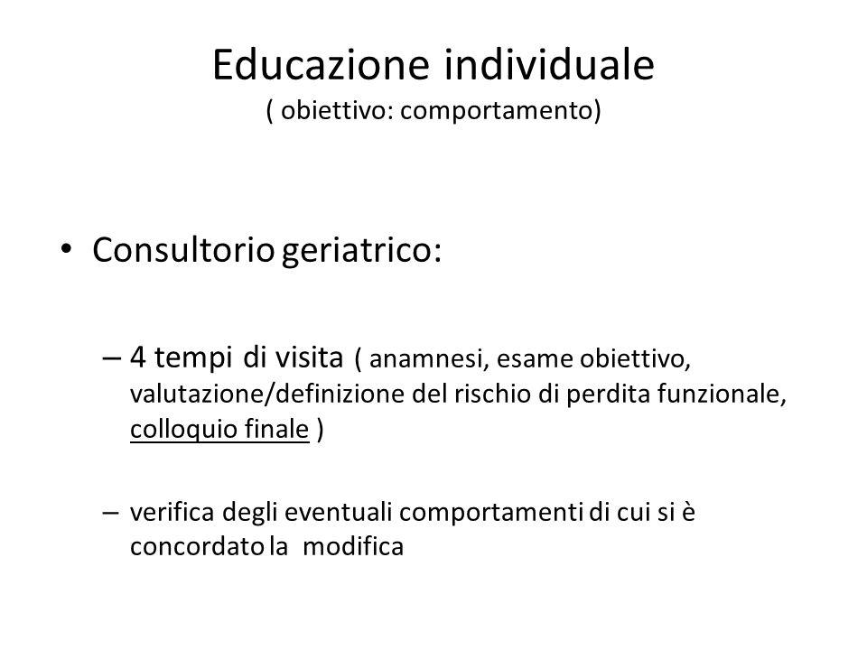 Educazione individuale ( obiettivo: comportamento) Consultorio geriatrico: – 4 tempi di visita ( anamnesi, esame obiettivo, valutazione/definizione de