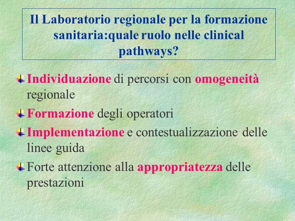 Il Laboratorio Regionale supporta i percorsi assistenziali attraverso: La ricerca EBM/EBN/EBP e la sperimentazione I percorsi assistenziali La formazi