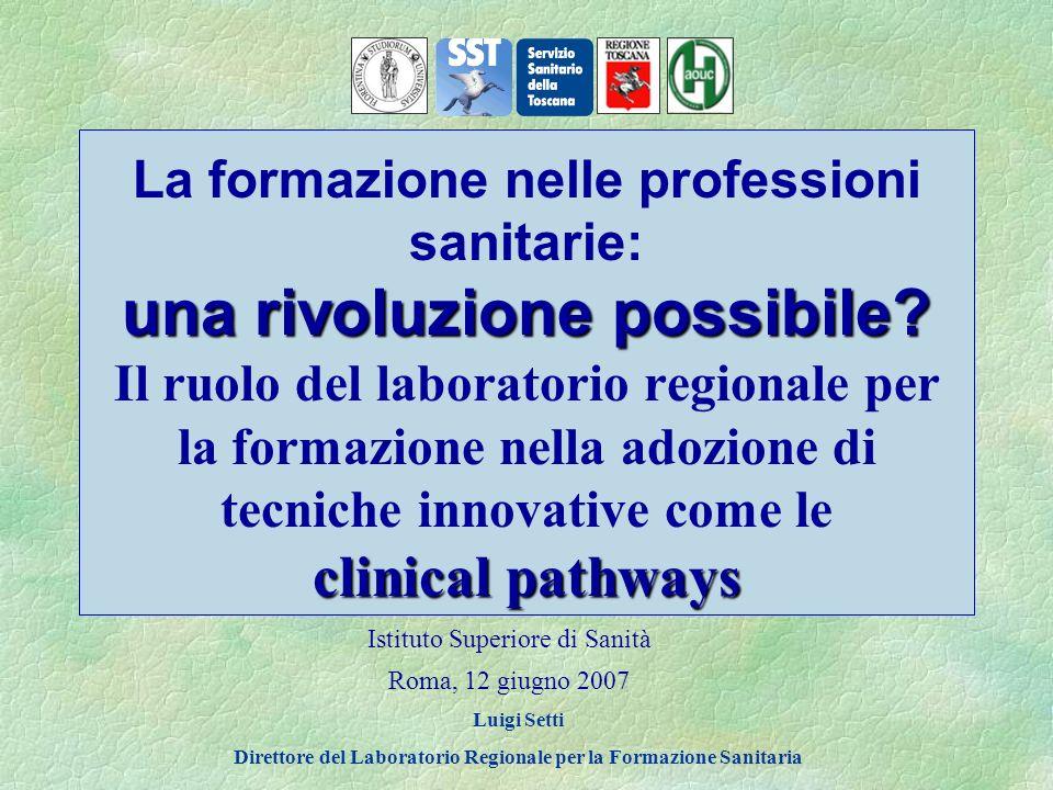 Il Laboratorio Regionale supporta i percorsi assistenziali attraverso: La ricerca EBM/EBN/EBP e la sperimentazione I percorsi assistenziali La formazione per lo sviluppo e laggiornamento continuo dei professionisti
