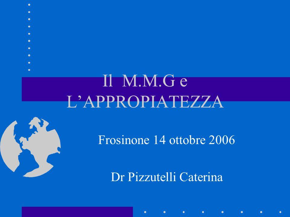 Il M.M.G e LAPPROPIATEZZA Frosinone 14 ottobre 2006 Dr Pizzutelli Caterina