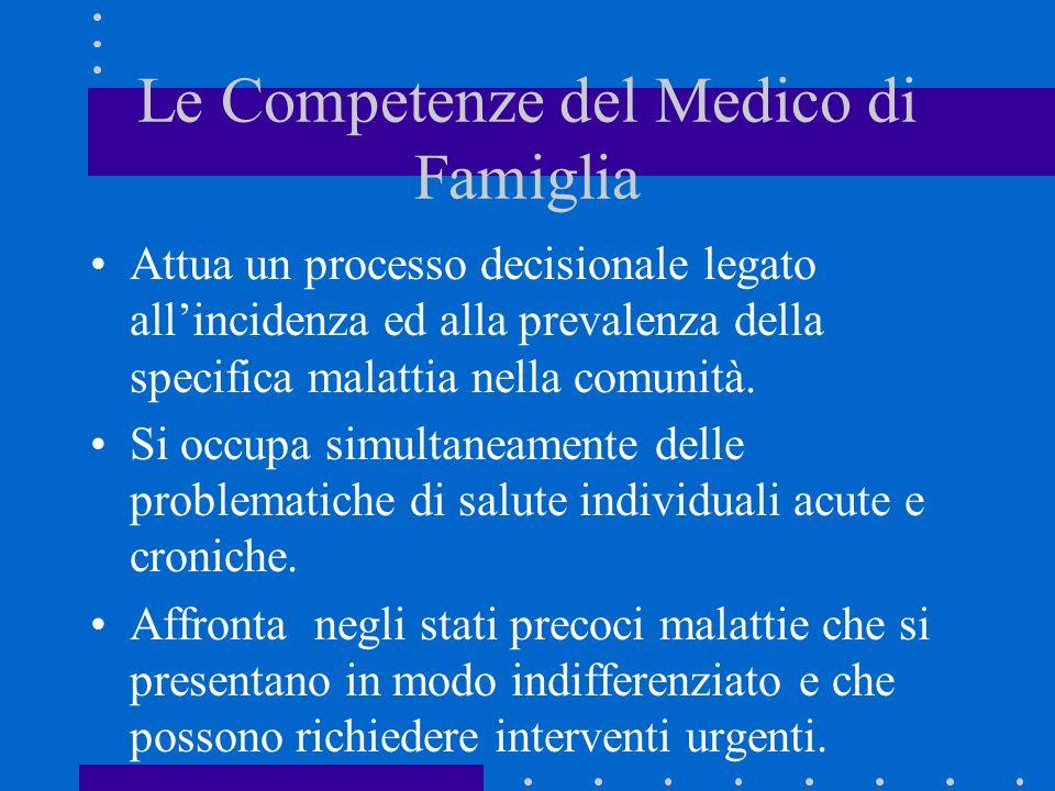 Le Competenze del Medico di Famiglia Attua un processo decisionale legato allincidenza ed alla prevalenza della specifica malattia nella comunità. Si