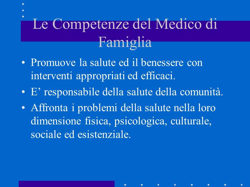 Le Competenze del Medico di Famiglia Promuove la salute ed il benessere con interventi appropriati ed efficaci. E responsabile della salute della comu