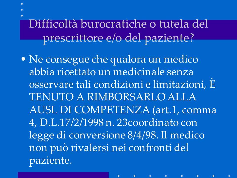 Ne consegue che qualora un medico abbia ricettato un medicinale senza osservare tali condizioni e limitazioni, È TENUTO A RIMBORSARLO ALLA AUSL DI COMPETENZA (art.1, comma 4, D.L.17/2/1998 n.