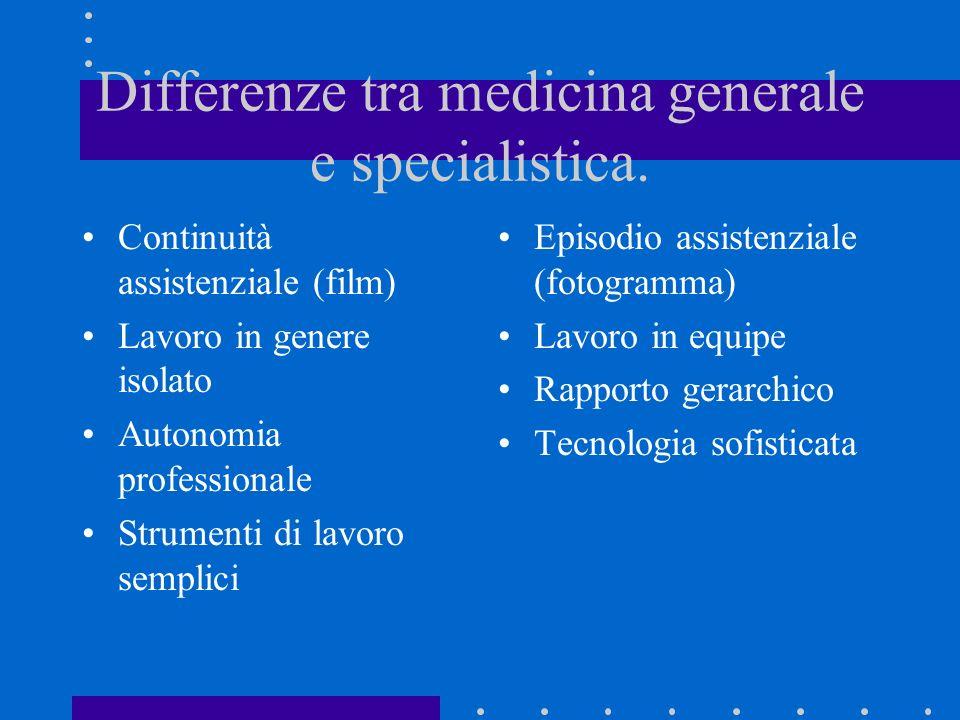 Differenze tra medicina generale e specialistica. Continuità assistenziale (film) Lavoro in genere isolato Autonomia professionale Strumenti di lavoro