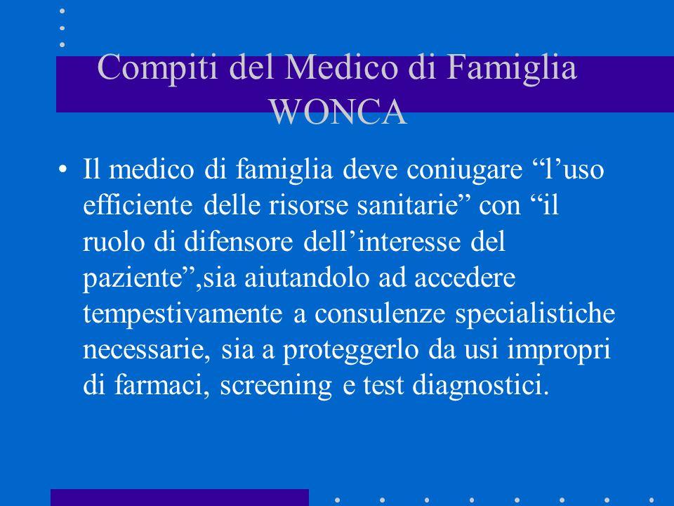 Compiti del Medico di Famiglia WONCA Il medico di famiglia deve coniugare luso efficiente delle risorse sanitarie con il ruolo di difensore dellintere